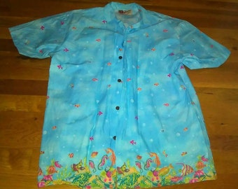 Hilo Hati Tiki under the sea blue Hawaiian shirt Sz m- XL