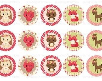 Girls Princess Woodland Animals Bottle Cap Images ~ Cute ~ Instant Download ~ 1 Inch Circles ~ Printable Image Sheet WA_258