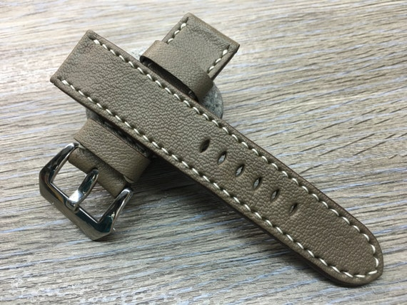 Luxury Genuine Leather watch Band - Elephant Gray | 24mm leather watch strap | Leather watch Band | leather watch strap for Panerai Watch