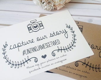 Rustic/Vintage A4 Wedding 'Capture our Story' Instagram/facebook/twitter sign