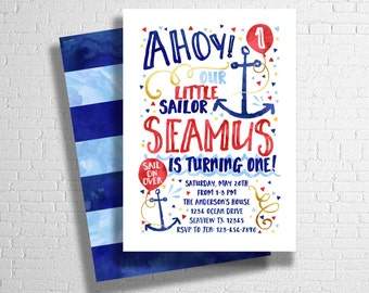 Sailor Invitation, Nautical Birthday Invitation, Our little Sailor, Ocean birthday theme, Ahoy! Invite DIGITAL FILE ONLY