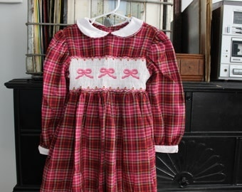 Smocked size 6, 6x plaid school girl dress first day of school