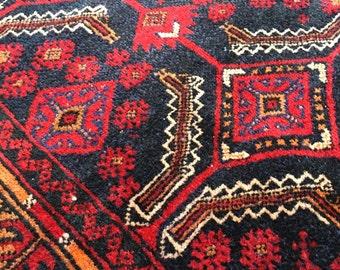 "4'7""x10'2"" Vintage Persian Balouch Rug"