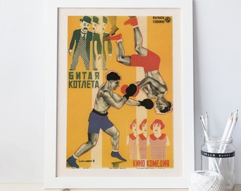 RUSSIAN AVANT GARDE Poster Red Soviet Poster Revolutionary Poster Soviet Wall Art Boxing Poster Home Decor Vintage Boxing Poster