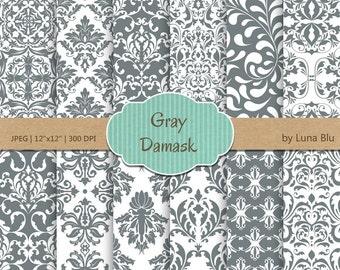 "Gray Damask Digital Paper: ""Gray Damask Patterns"" gray digital paper, neutral damasks for cardmaking, invitations, gray scrapbooking paper"