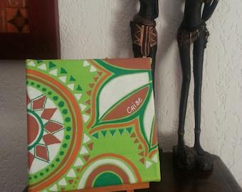ethnic modern acrylic on canvas green orange white Brown