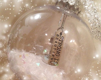 Strong is Beautiful Barbell Ornament