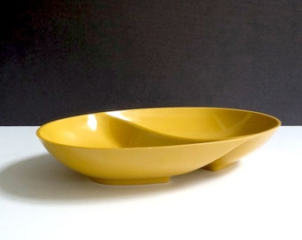 Golden Yellow Divided Melmac Serving Dish, Carelton for Gracious Homes, Retro Kitchen