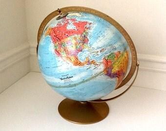 "Replogle 12""  World Nation Series Globe, Full Swing Meridian, Gold Toned Metal Stand"