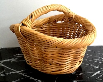 Very Large Woven Wicker Market Basket with Handle, Wicker Gathering Basket, Natural Color