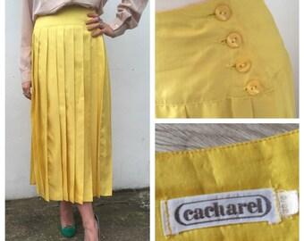 Yellow VINTAGE Cacharel Silk Skirt | Yellow Pleated Skirt | Silk Vintage Fill LengthSkirt | Size UK 10 | US 6