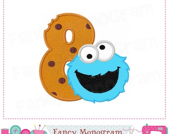 Cookie Monster Number 8 applique,Birthday Number 8 applique,8,Cookie Monster design,Cookie Monster applique.