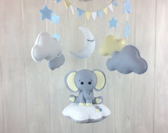 Baby mobile - elephant mobile - cloud mobile - star mobile - bunting - elephant sitting on a cloud - nursery mobile - elephant nursery decor