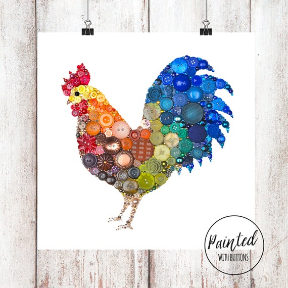 Rustic Rooster Wall Decor : Rooster art print farmhouse kitchen decor wall