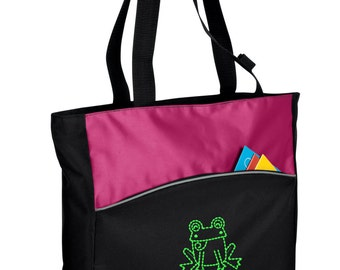 Personalized Tote Bag Embroidered Tote Bag Custom Tote Bag - Sports - Frog - B1510