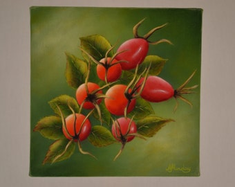 Original 6x6' acrylic realistic rose hips painting, still life painting, kitchen painting, fruit miniature, berry painting, wall decor