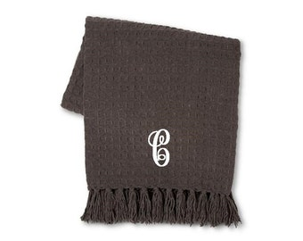 Personalized Dark Gray Bastketweave Chenille Blanket- Very Soft!  You choose how you want it monogrammed!