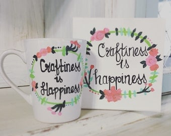 Craftiness is Happiness - Mug and Canvas Gift Set