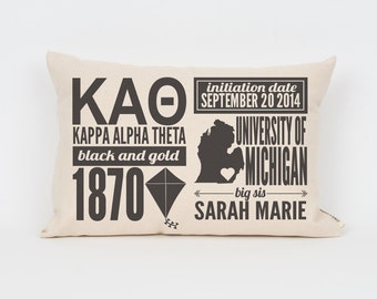 kappa alpha theta custom sorority facts pillow greek letter pillow big little gift sorority letters sorority gift dorm decor