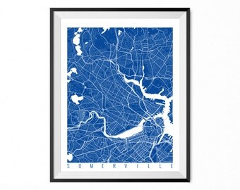 Somerville Map Art Print / Somerville City Poster / Somerville Wall Art / Massachusetts/ Gift / Massachusetts home decor