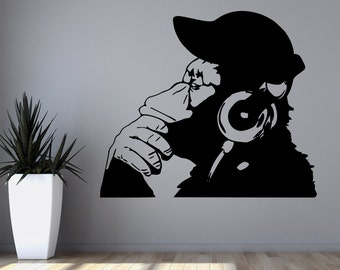 Banksy Vinyl Wall Decal Rock Monkey With Headphones Listening to Music in Earphones ,funny wall decal for kid's bedroom wall decal @130