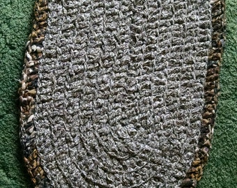 On Sale!! 21 x 33 Oval Rag Rug in Black, Off White, and Browns.