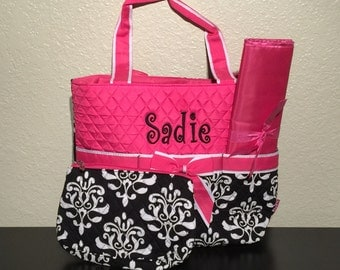 Damask Bloom Print Monogrammed Diaper Bag Black and White with Hot Pink Trim