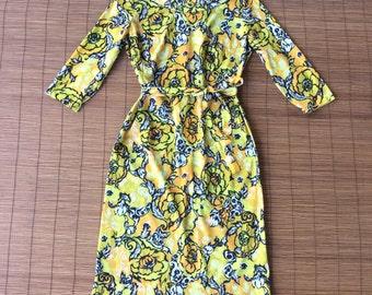Vintage 1960s Orange Rose Nylon Shift Dress / Matching Self Tie / Made by Career Casuals / Boatneck / Mod