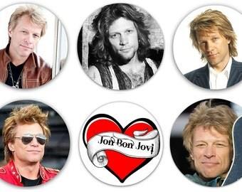"""Set of 6 Jon Bon Jovi 1.25"""" Pinback Buttons, Flat Backs or Magnets (Set #2)"""