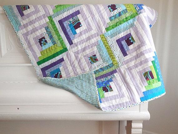 Modern Cabin Bedding: Modern Log Cabin Quilt / Lap Quilt / Child Quilt / Throw Quilt