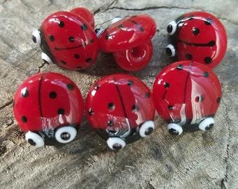 Handmade Ladybird Buttons