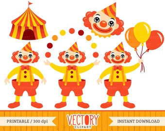 Clown Clipart Set in Red and Yellow, Circus Clown Clip Art by VectoryClipart