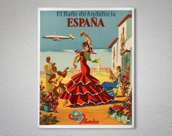 Flamenco Dancers Espana, Iberia Vintage Travel Poster - Poster Print, Sticker or Canvas Print