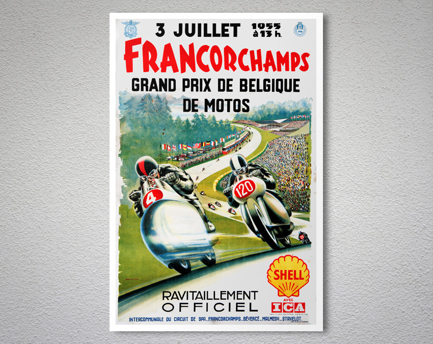 francorchamps grand prix de belgique de motos 1955 vintage. Black Bedroom Furniture Sets. Home Design Ideas