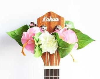 ribbon lei for ukulele (organdie pink b) / ukulele accessories/ ukulele decor / mandolin /hawaiian lei /organdie ribbon / monstera