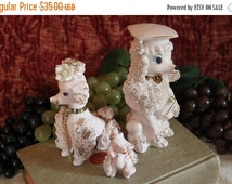 Fall CLEARANCE Sale Family of 3 Pink Spaghetti Porcelain Poodles - Numbered E-179, Japan