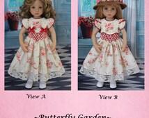 "PDF Butterfly Garden Smocked Dress Pattern for 13"" Effner Little Darling Doll & 14"" Betsy McCalls Doll"