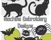 Cats and Bats-Halloween Embroidery Machine Motifs .PES format 9 included! Cute