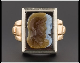 Vintage 10k Gold Cameo Ring | Men's Cameo Ring | Carved Agate Cameo Ring | 10k Gold Men's Ring | Vintage Men's Ring