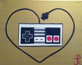 Nintendo nes controller heart 8.5X11 print