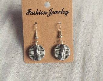 Round silver 'disc' earrings