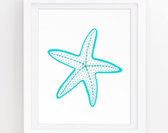 Ocean decor, Starfish wall decor, Starfish wall art, Nautical art, Beach cottage decor, Turquoise wall art, Download, 5x7, 8x10, 11x14 209