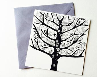 Tree birds postcard
