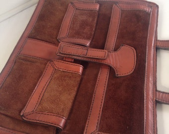 Leather and suede rust colored attache, laptop bag, briefcase , handbag
