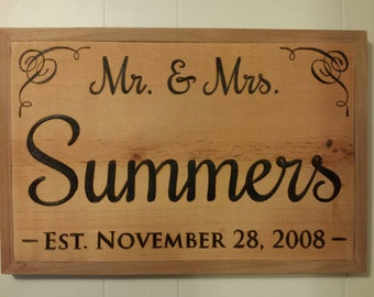Customizable Mr. & Mrs.  Established Wedding, Anniversary Sign