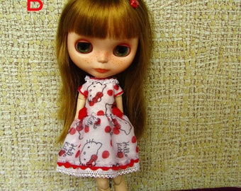 Dress for Blythe, Pullip (Hello Kitty)