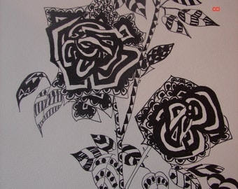Rose Zentangle Drawing, pen and ink original Rose Drawing, Tea Rose floral flower wall art, black and white Zentangle, rose picture, ink pen