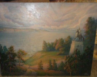 """Large Oil on Canvas Titled """"The River Volga By Russian Artist Nikolay Milekhin"""