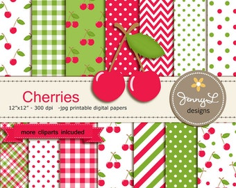 Cherry Digital papers and Clipart SET, Cherries, Fruit, Birthday, Baby Shower, Scrapbooking Paper Party Theme,