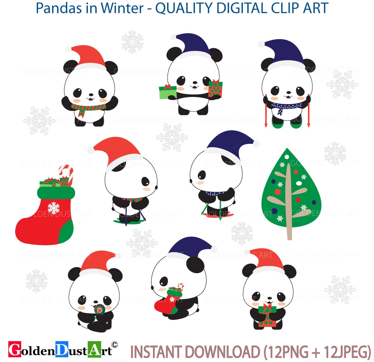 clipart panda winter - photo #42